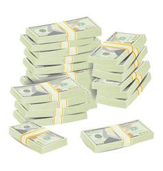 money stacks realistic concept 3d dollar vector image