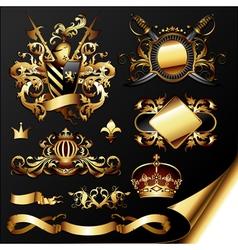 ornamental heraldic elements vector image vector image