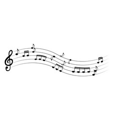 set of musical notes on five-line clock notation vector image vector image
