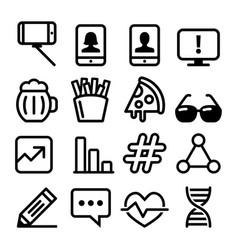 web line icons website falt design icons vector image