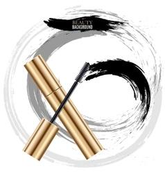 Woman cosmetic brush smears mascara vector