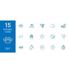 15 cat icons vector image