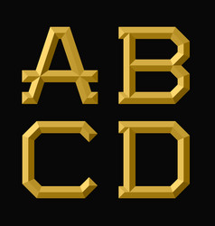 a b c d gold faceted letters trendy and vector image
