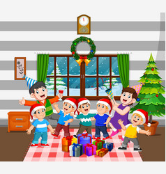 a happy family with a lot children are celebrating vector image