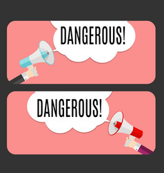 Abstract banner with text dangerous emotion and vector