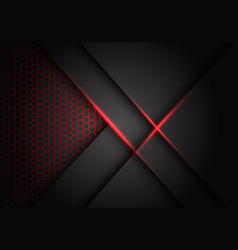 abstract grey metallic overlap red light hexagon vector image