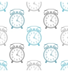 Alarm clock flat linear icon Seamless pattern vector image