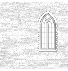 Ancient brick wall background with gothic window vector