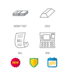 Atm cash money and bill icons vector
