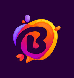 B letter at colorful speech bubble and heart vector