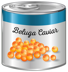 Beluga caviar in aluminum can vector