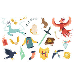big bright set with magic creatures and items vector image