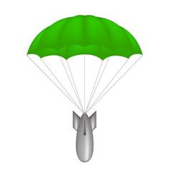 bomb at green parachute vector image