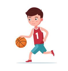 boy basketball player runs with ball vector image