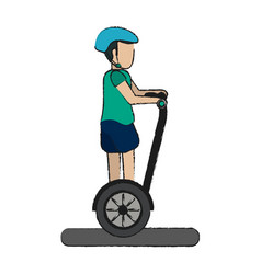 Boy over segway design vector
