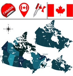 Canada map with named divisions vector image