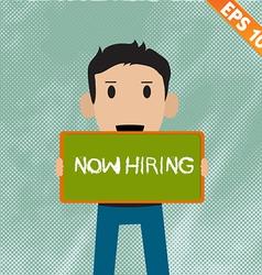 Cartoon Businessman with chalk board for hiring vector
