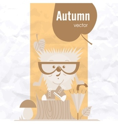 Cartoon Hedgehog Hipster Style vector