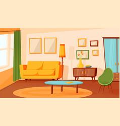Cartoon living room interior flat empty sofa vector