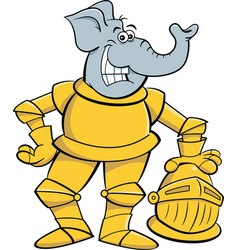 cartoon smiling elephant wearing a suit armor vector image