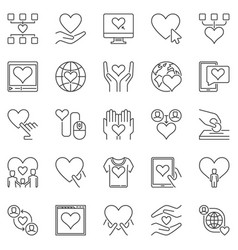 charity and donation outline icons set vector image