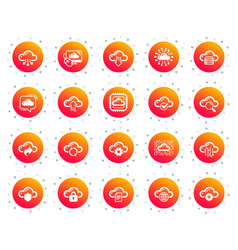Cloud data and technology icons set hosting vector