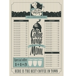 coffee house menu for a price list vector image