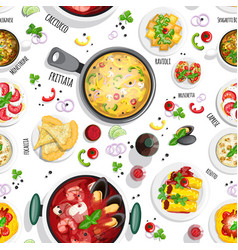 Collection italian food top view iluustrations vector