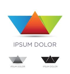 Colorful paper boat emblem vector image vector image
