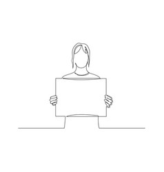Continuous one line woman holding a tablet vector