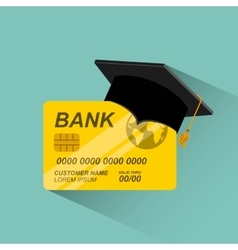 Credit card with graduation hat vector