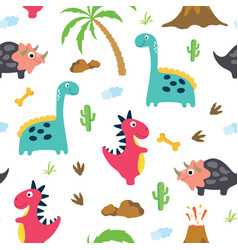Cute dinosaur seamless pattern vector