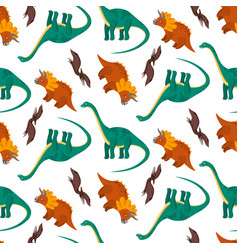 Cute pattern with colorful cartoon dinosaurs vector