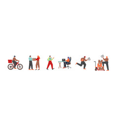 delivery service workers and clients flat vector image