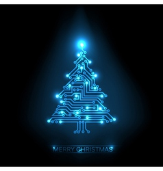 Digital christmas tree vector