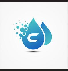 droplet design with letter c symbol design vector image