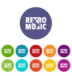 festival retro music icons set color vector image