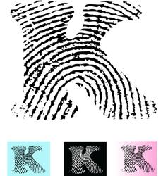 Fingerprint Alphabet Letter K vector image