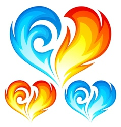 Fire and Ice heart vector