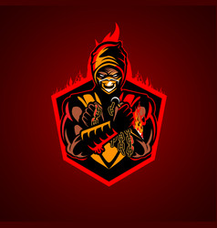 fire ninja symbol insignia vector image