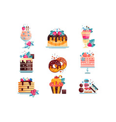 flat set various tasty desserts with vector image