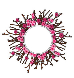 flowers cherry wreath and twigs holiday concept vector image