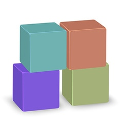 Four colored transparent cubes stand on each other vector