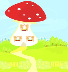 Funny cartoon mushroom house vector