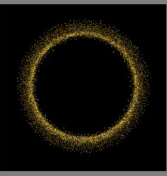 Gold circle glitter frame golden confetti dots vector