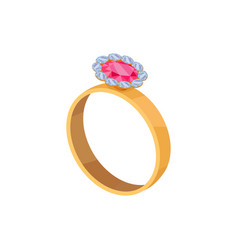 gold ring with pink stone isolated vector image
