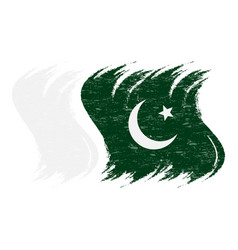 Grunge brush stroke with national flag of pakistan vector