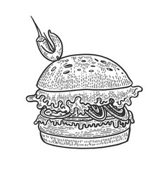 hamburger sandwich sketch engraving vector image