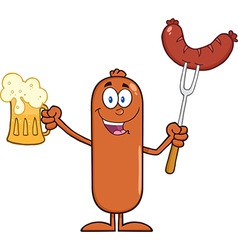 Happy Sausage Cartoon with a Pint of Beer vector image