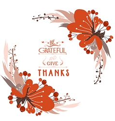 Happy Thanksgiving Day greeting card bird and hand vector